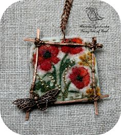 #landscape_pendant #Poppies #Felted_pendant  #Boho_style  #Hand-made by #MarinaDyachenko on Etsy