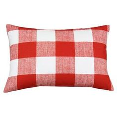 """Set of two gingham cotton pillows.  Product: Set of 2 pillowsConstruction Material: Cotton cover and polyester fillColor: Lipstick and whiteFeatures:  Inserts includedZippered closureMade in the USA Dimensions: 12.5"""" x 19"""" eachCleaning and Care: Spot or dry clean only"""