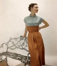 40S/50S love this, its got that classic petite late and early style which I love :) such a great colour combination...and look at that girls waist! #vintage #daywear #daydresses