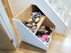 Stair shoe storage under a stair frame # stair frame # stair shoe . # one shoe # stair shoe storage Shoe Storage Under Stairs, Under Stairs Cupboard, Stair Storage, Staircase Storage, Hallway Storage, Shoe Cupboard, Cupboard Storage, Cupboard Ideas, Small Shoe Rack