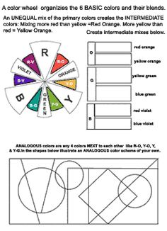 Colored pencil color worksheet.  Good review of color element and importance of blending values.