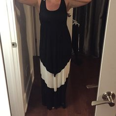 "❗️final price❗️Black chevron maxi Black maxi with ivory chevron detail on bottom.  Never worn. Size large. I'm 5'4"" and wearing it without shoes in the picture. It is a little too big on me, I need a medium. 94% viscose, 6% spandex Dresses Maxi"