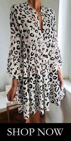 2834 Leopard Long Sleeves Straight Over Knee Freizeitkleider VeryVoga Online Fashion, Casual Dresses, Fashion Dresses, Lace Dresses, Summer Outfits, Summer Dresses, Outfit Trends, Casual Chic Style, Ruffle Dress
