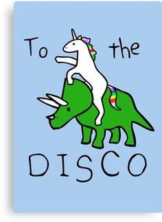 'To The Disco (Unicorn Riding Triceratops)' Poster by jezkemp Real Unicorn, Unicorn Art, Rainbow Unicorn, Unicorn Pics, Unicorn Memes, Unicorn Quotes, Funny Unicorn, Baby Unicorn, Unicorns And Mermaids