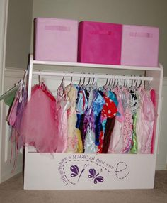 Cute way to store dress-up clothes.