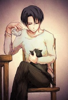 Shingeki no Kyojin, Attack on Titan, Rivaille (Levi) L's style of 'handling' a teacup in a rather elegant nd odd fashion. <3