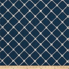 Fabricut Ticket Diamond Embroidered Navy from @fabricdotcom  This beautiful medium/heavyweight fabric features a diamond / ogee polyester cord embroidery throughout. Perfect for draperies, swags, duvet covers, shams, toss pillows, and light upholstery projects.