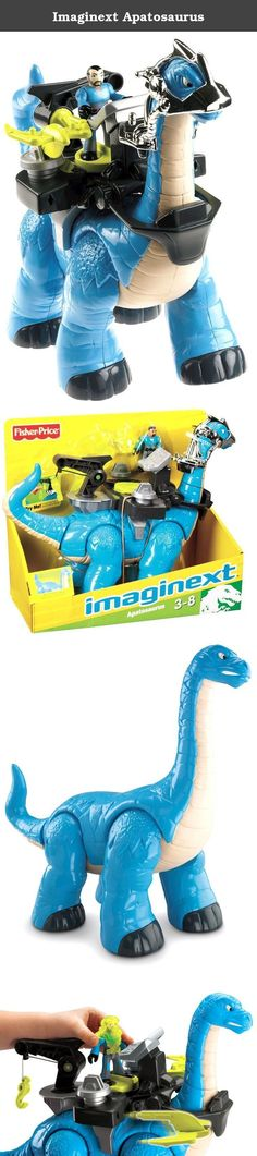 Imaginext Apatosaurus. From the Manufacturer Imagine... a prehistoric dino, with cool tech gear! The Apatosaurus is ready for big adventure and action. Just strap on his control station and turn the figure in the disk to launch the gliders at the enemy. Or pull down the tow hook for dino-size rescues! Imaginext, it's a new adventure every time you play! Includes apatosaurus with helmet, figure with helmet, and control station pod. All gear is removable for classic dino play. Product...