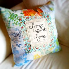 Upcycled Vintage Sheet Throw Pillow // repurposed // home sweet home // patchwork // embroidered // blue cushion. $48.00, via Etsy.
