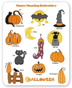 Haunting Halloween Embroidery Designs Fall Pumpkin Bat Witch Hat Moon Cat Crow