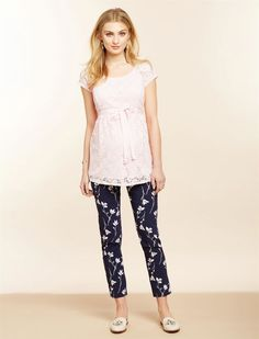 Secret Fit Belly Skinny Ankle Maternity Pants- Navy Floral