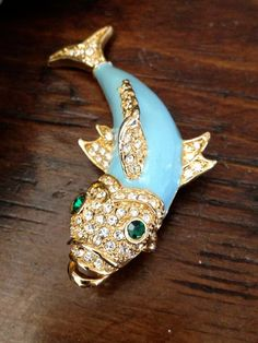Vintage Enamel and Rhinestone Fish Brooch.