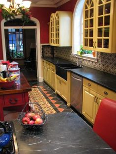 Traditional Galley Style Red kitchen, yellow cabinets, $50,000 - $100,000, Phoenix (especially love the tile design in the floor. maybe use different colors)