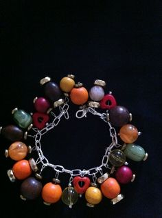 red yellow brown green beads silver chain by momskeychains on Etsy, $15.00