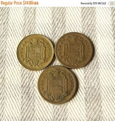 Set of 3 Spain coins from 1947, 1953 and 1966. All coins are the same nominal of 1 peseta. They all in a very good condition and can be a great addition to your collection.  Diameter: 20 mm (3/4 inch). More vintage coins from all over the world available here: http://etsy.me/1G8XkZn ***************************************** When and how you will get your order?  ♥ All items will be shipped from Ukraine; ♥ All paid orders will be shipped within 48 hours; ♥ Shipping time: no...