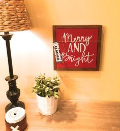 Christmas Decor. Wood sign. Merry & Bright.