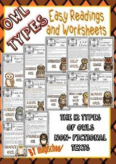 OWLS EASY READINGS AND WORKSHEETS (LIFE CYCLE -FLIP FLAPS AND MORE...) - TeachersPayTeachers.com
