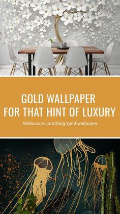 "From swirling marbles and dazzling glitter wallpapers to metallic dark sea life designs and fabulous Art Deco geometric patterns, beautiful ""Au"" always wins when it comes to luxury and style. Here are some of our top gold wallpaper designs to help you decide if you're ready for a luxurious feature wall in your home. Creators of made-to-measure wallpaper murals, Wallsauce.com, has your wall covered. Shop now to find your perfect wallpaper mural! #wallpaper #homedecor #decoridea… Gold Wallpaper Designs, Gold Geometric Wallpaper, White And Gold Wallpaper, Glitter Wallpaper, Designer Wallpaper, Wallpaper Murals, Wall Murals, Gold Glitter Background, Gold Interior"