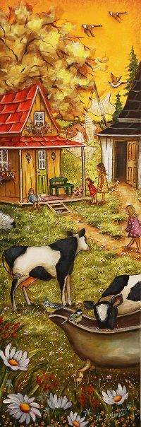 VENDU Famille de campagne 12X36 Cute N Country, Fairy Tales, Illustration Art, Country Roads, Fantasy, Watercolor, Artwork, Pictures, Boards