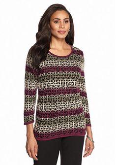 2ec76a0c71da47 Alfred Dunner Calabria Lace Stripe Sweater