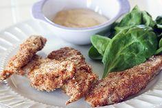 Chicken breaded with almond meal. Gluten free...and looks super tasty!