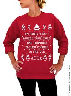 Cookies Crammed VCR - Unisex Crew Neck #uglychristmassweater #elf