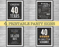 40th Birthday or Anniversary Signs 8x10 Printable Party by NviteCP, 40th Birthday, 40th Anniversary, 1977 sign, 40th, 1977