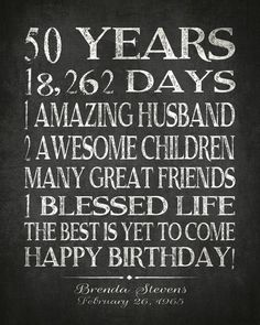 Celebrate your loved ones birthday with this special gift, using your words. Shown here with days, children, great friends, amazing husband but