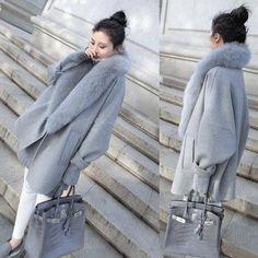 2017 outono e inverno nova versão Coreana do grande casulo-tipo cape casaco De Pele Cinza personalidade longa seção da casaco