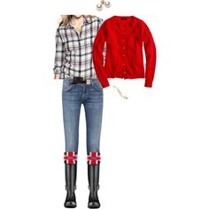 """Navy plaid & red OOTD"" by maomi on Polyvore"