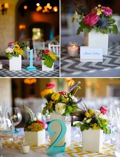Teal table numbers for wedding table decor by www.zcreatedesign.com!