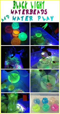 Black light waterbeads play and black light water play! Super fun  and easy sensory play!