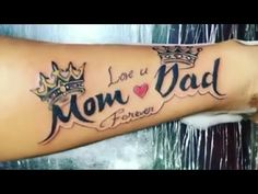 Mum And Dad Tattoos, Mom Tattoos, Tattoo Mom, Hand Tattoos, Tatoos, Mom Dad Tattoo Designs, I Love U Mom, Mom And Dad Quotes, Forearm Band Tattoos