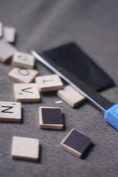DIY Scrabble magnet letters....for leaving messages on the fridge!