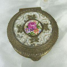 Vintage Trinket Box Vanity Rose Porcelain White Enamel Metal Ornate Footed Velvet Lined Japan