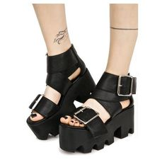 Y.R.U. Ballet Bae Platforms ($108) ❤ liked on Polyvore featuring shoes, black pointy shoes, black pointed shoes, black shoes, high heel pointed heel shoes and pointy high heel shoes