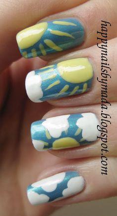 summer sky #Nail Art Designs #nail art / #nail style / #nail design / #tırnak / #nagel / #clouer / #Auswerfer / #unghie / #爪 / #指甲/ #kuku / #uñas / #नाखून / #ногти / #الأظافر / #ongles / #unhas