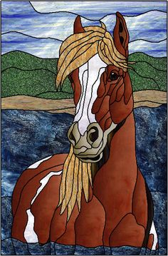 Chontique horse in the water stained glass Faux Stained Glass, Stained Glass Designs, Stained Glass Panels, Stained Glass Projects, Stained Glass Patterns, Horse Quilt, Intarsia Patterns, Horse Pattern, Glass Animals