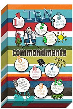 Ten Commandments for Kids Canvas Artwork by Carpentree. A great way for kids to learn the Ten Commandments.