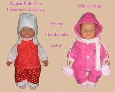 20 Schnittmuster für Puppenkleidung.  Tolle Winterkleidung für eine 32cm große Puppe.