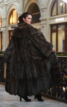 long, dark sable fur coat