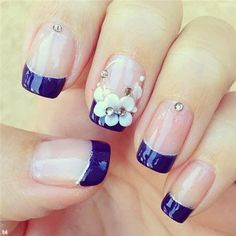 Today we have collected awesome blue nail designs in this post and be ready to get inspired! Hope you will like these blue nail art designs pictures. French Tip Nail Designs, Blue Nail Designs, French Nail Art, French Tip Nails, French Manicure With A Twist, French Manicures, Blue Design, Lace Nails, Rhinestone Nails