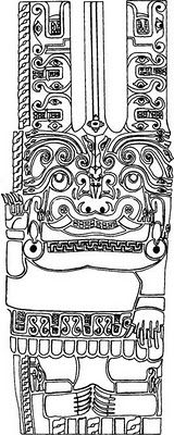 Drawing of stone carving in Chavin tunnel, in Peru