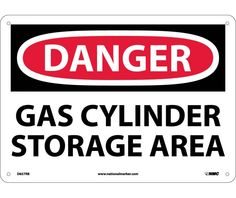 Danger, GAS CYLINDER STORAGE AREA, 10X14, Rigid Plastic