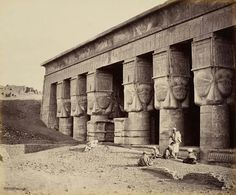 West Portico of the Temple of Hathor,Dendera,Egypt,circa 1862.