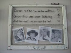 old wood window frame turned home decor  .............I made this b4 I had my Cricut, I could make it really nice now!