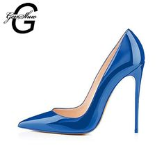 972cc70cd Elegant Women Dark Blue Patent Leather Pointy Evening Dress Pumps High Heels  Ladies Party Shoes Plus Size