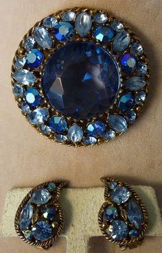 Vintage SIGNED REGENCY LARGE BLUE RHINESTONE BROOCH PIN & EARRINGS  #Regency