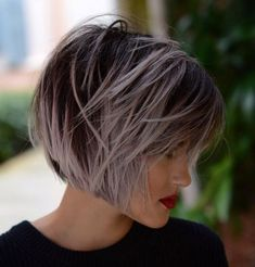 60 Short Shag Hairstyles That You Simply Can't Miss Pastel Purple Balayage Bob Short Sassy Haircuts, Asymmetrical Bob Haircuts, Bob Hairstyles For Fine Hair, Short Hairstyles For Women, Cut Hairstyles, Trendy Haircuts, Balayage Bob, Purple Balayage, Choppy Hair