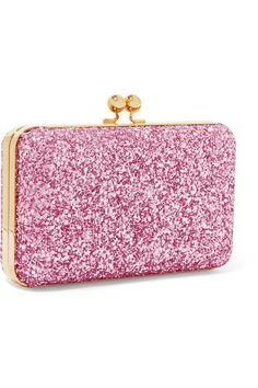Sophie Hulme - Sidney Glittered Suede Clutch - Pink - one size Sophie Hulme, Malene Birger, Elizabeth And James, Pink Glitter, Handbag Accessories, Calves, Coin Purse, Gucci, Valentines